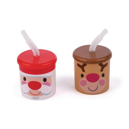 Cheery Christmas Plastic Cups With Lids and Straws (12) ()