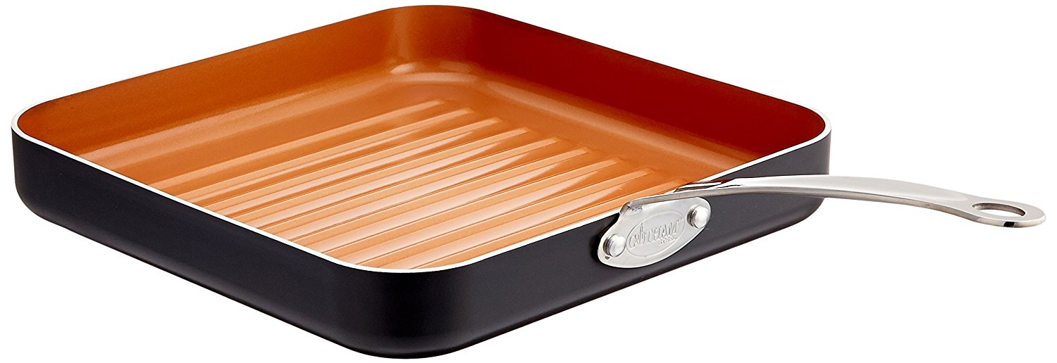 10.5-inch Non-Stick Grill Pan with Ti-Cerama Surface, Copper, Fast shipping,Brand GOTHAM STEEL by