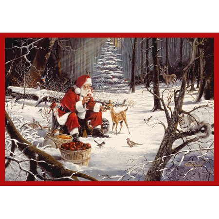 Milliken Indian Red Sonata - Milliken Seasonal Inspirations Area Rugs - Novelty 02004 Forest Feast Christmas Santa Wildlife Forest Rug