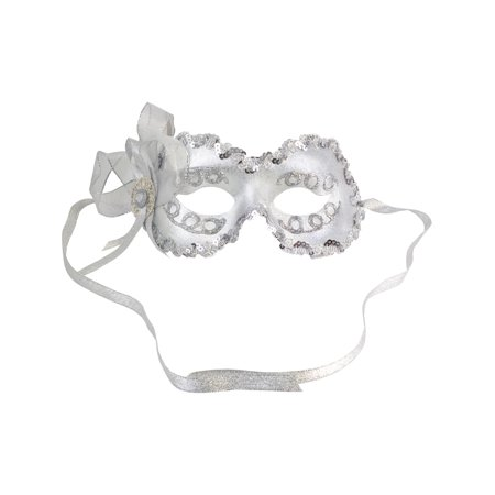 Silver Masquerade Mask Mardi Gras Angelina Eye Mask Womens Costume Accessories Sizes: One Size - Best Mardi Gras Costumes