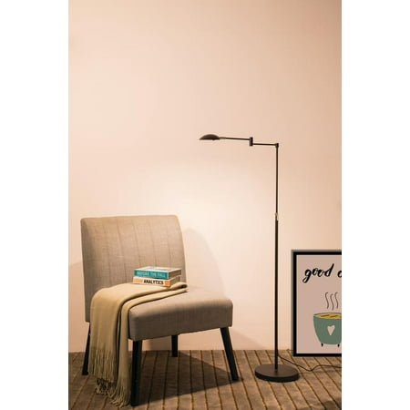 37 In - 50 In Adjustable Luna Led Swing Arm Satin Black Chrome Studio Reading Floor (37 Estiluz Floor Lamp)