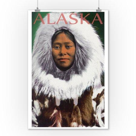 Eskimo Woman - Alaska (9x12 Art Print, Wall Decor Travel Poster)](Eskimo Women)