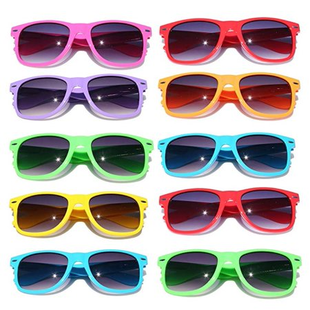 10 Bulk Pack Lot Neon Color 80's Retro Classic Vintage Party Glasses Sunglasses - Wholesale Wayfarer Sunglasses Bulk