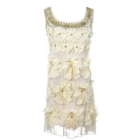 Cream Lace Dress (Beige Cream Floral Flower Petal Gem Stone Bead Neckline Sleeveless Lace Dress )
