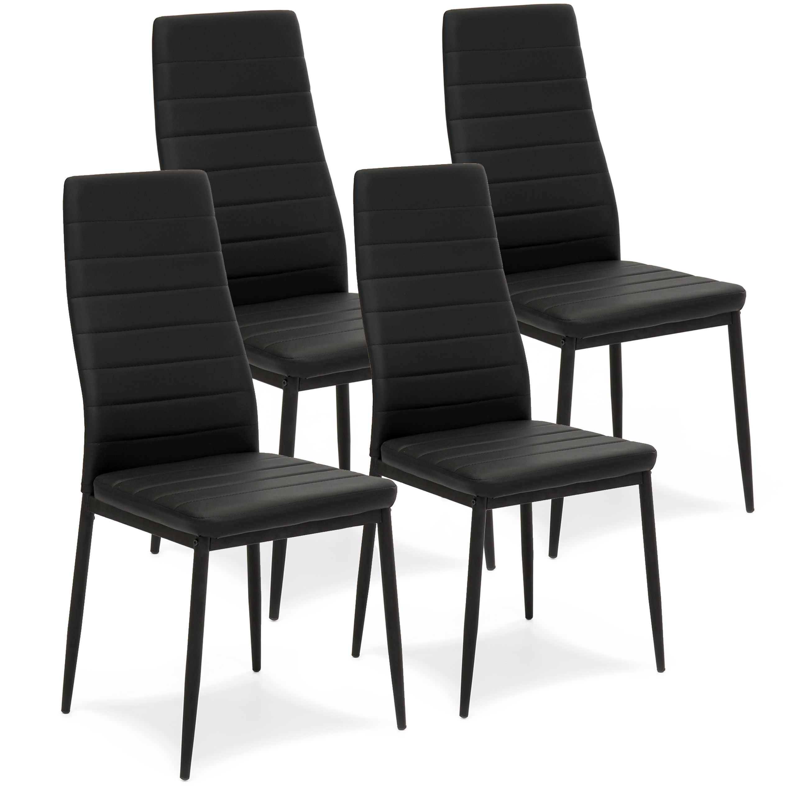 Best Choice Products Set of 4 Modern High Back Faux Leather Dining Chairs - Black