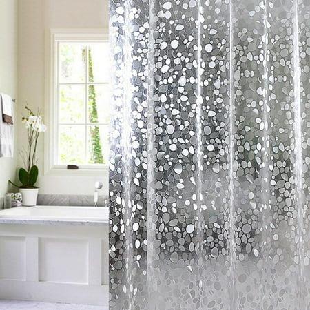 Shower Curtain Jaragar Waterproof Mildewproof Semi Transparent PVC With Crystal Stone Pattern B