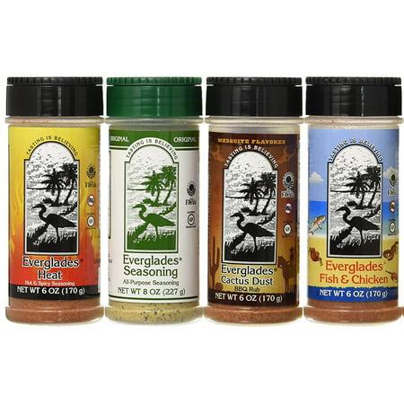 4 Pack Everglades Seasoning Sampler Cactus Dust Heat Fish & Chicken 6 Oz Bottles 8 Oz All Purpose