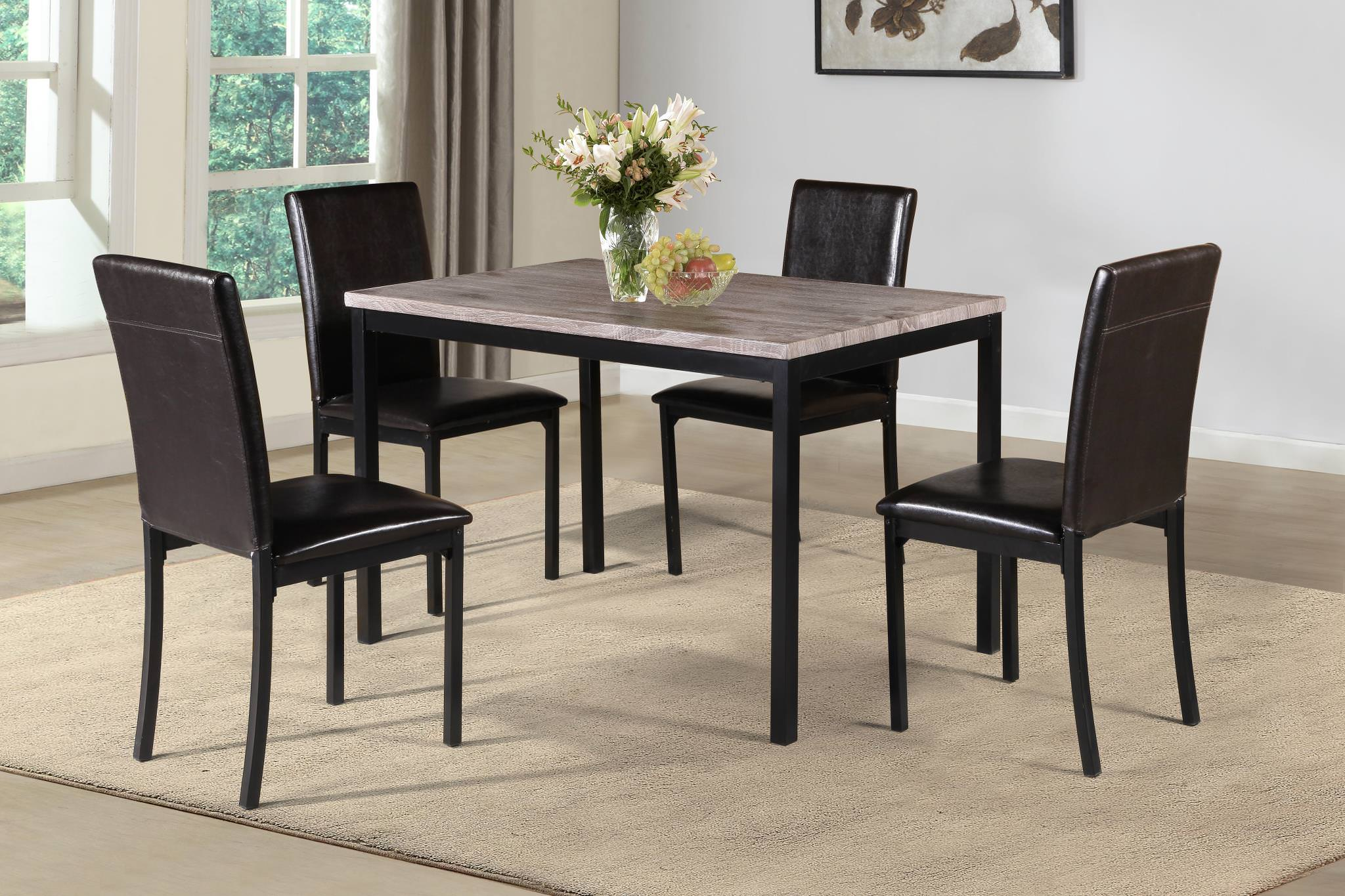 U0026nbsp;Home Source Melissa 5 Piece Counter Height Dining Set, Light Wood  Grain Table