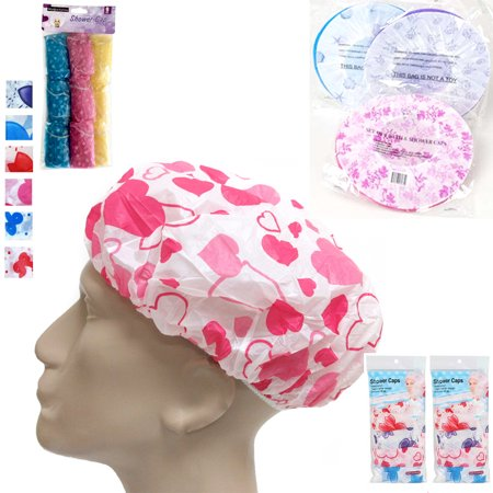 Shower Hat (6 Pack Shower Cap Womens Bath Hat Waterproof Elastic Band Protects Hair Home New )