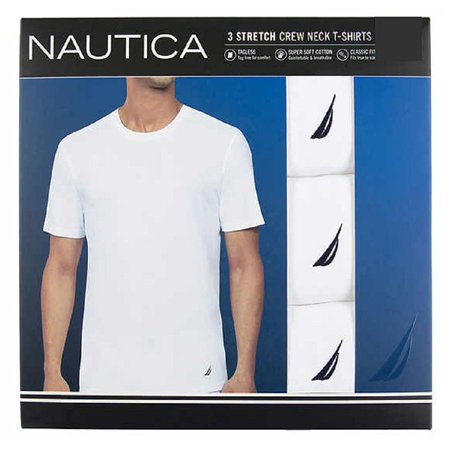 Nautica T-Shirt Tagless Crew Neck Stretch Super Soft Cotton White 3 Pair, (Nautica L/s Shirt)