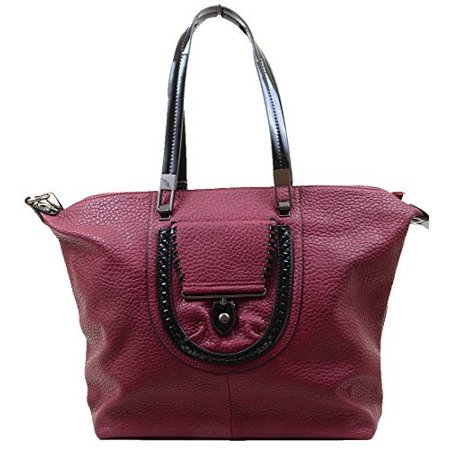 Burgundy Vegan Faux Leather Large School Tote Bag Purse Faux Leather Medium Tote Bag