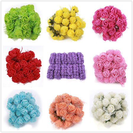 Same Day Christmas Flowers - Foam Flowers -144pcs Colourfast Foam Artificial Rose Flowers Wedding Bride Bouquet Party Decor Valentine's Day Christmas Decoration(Mini Size)
