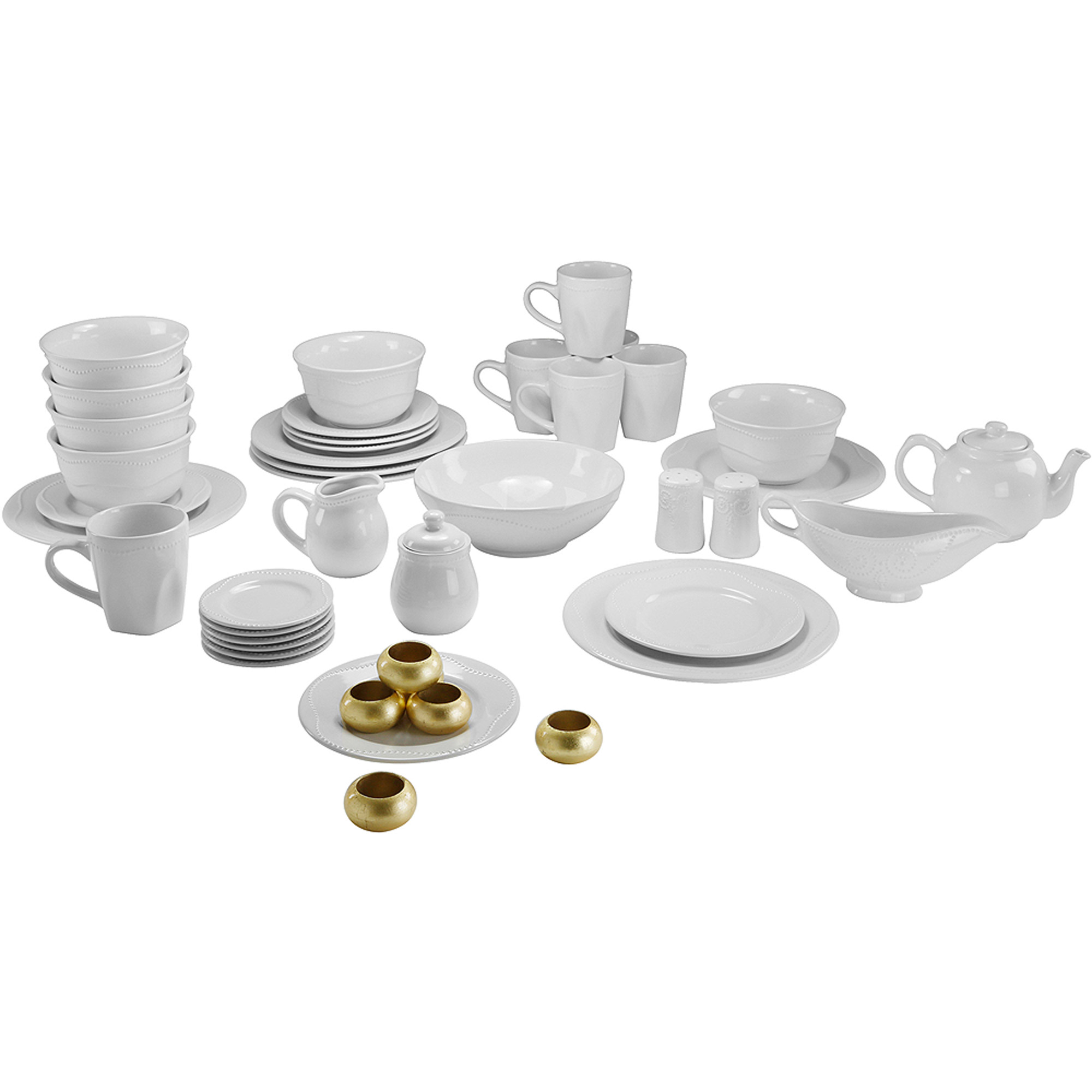 10 Strawberry Street Nova Beaded Round 45-Piece Dinnerware Set  sc 1 st  Walmart & 10 Strawberry Street Nova Beaded Round 45-Piece Dinnerware Set ...