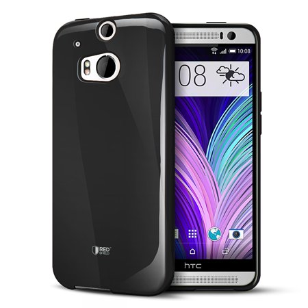 Black Crystal Silicone TPU Flexible Skin Case w/ Free Screen Protector for HTC One