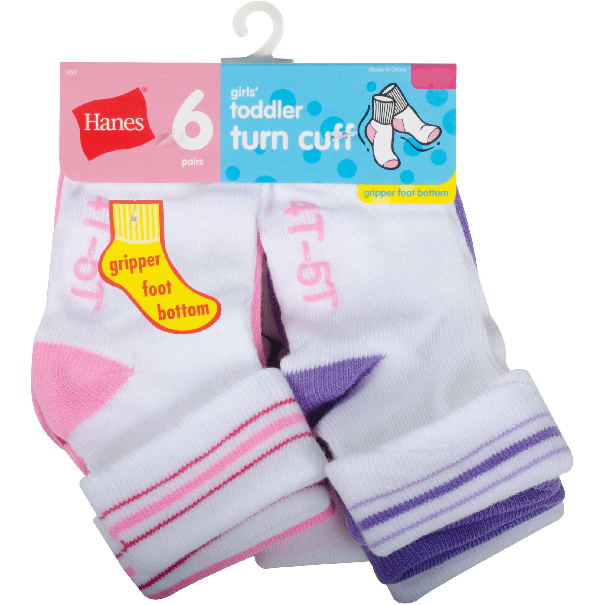 Hanes Baby Toddler Girl Turn Cuff Socks - 6 Pair