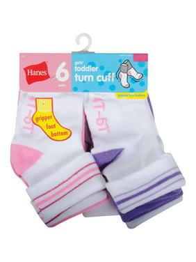 Baby Toddler Girl Turn Cuff Socks - 6 Pair