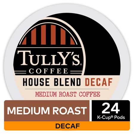 Tullys Coffee Decaf House Blend K-Cup Pods, Medium Roast, 24 Count for Keurig Brewers