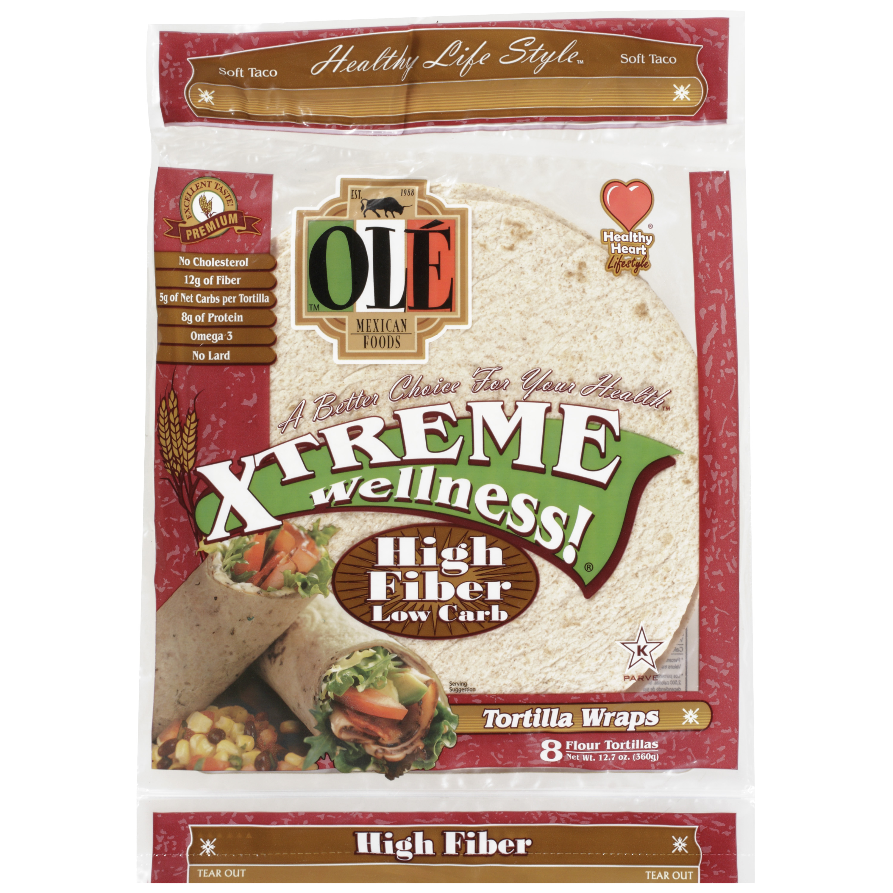 "OLE Mexican Foods Xtreme Wellness! High Fiber Low Carb 8"" Tortillas, 8 ct"