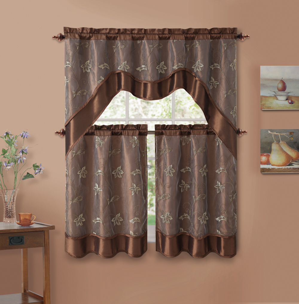 3 Piece Chocolate Brown Double Layer Leaf Embroidered