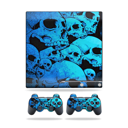 Skin Decal for Sony Playstation 3 PS3 Slim + 2 controllers sticker Blue Skulls