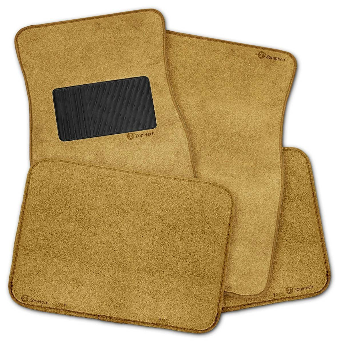 Zone Tech All Weather Heavy Duty Vehicle Floor Mats - 4- Piece Beige Full Carpet Vehicle Floor Mats Plus Vinyl Heel Pad for Additional Protection