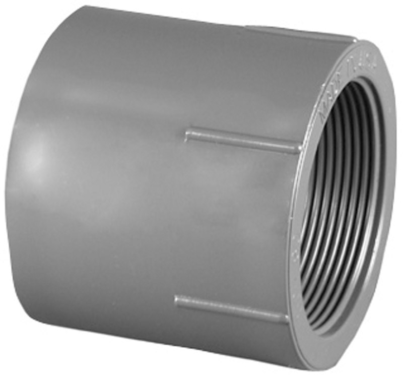 Charlotte Pipe & Foundry PVC 08101  2000HA Pipe Fitting, PVC FPT Adapter, Gray, Slip x Thread, 2-In.