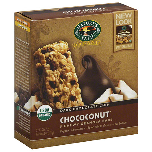 Nature's Path Organic Chococonut Dark Chocolate Chip Chewy Granola Bars, 6.2 oz, (Pack of 6)