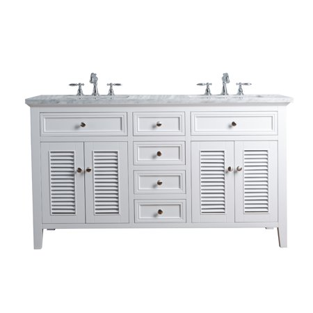 Stufurhome Genevieve 60 Inches White Double Vanity Cabinet w/ Shutter Double Doors Dual Bathroom Sinks Bathroom Double Sink Cabinets