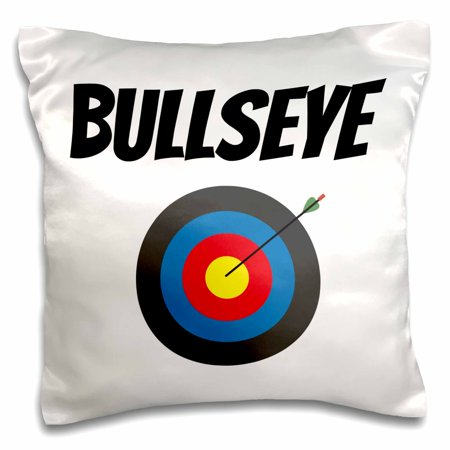 3dRose Bullseye, picture of a target with an arrow in it, black letters - Pillow Case, 16 by 16-inch