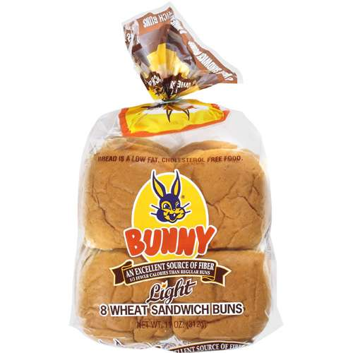 Bunny: Wheat Sandwich Light Buns, 11 Oz