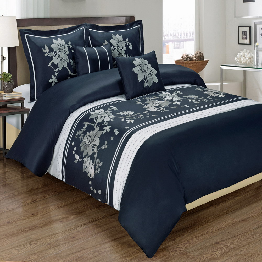 Myra Navy 5-Piece Duvet Cover Set Embroidered 100% Cotton Full/ Queen Size