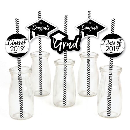 Black and White Grad - Best is Yet to Come - Paper Straw Decor - 2019 Graduation Striped Decorative Straws -Set of