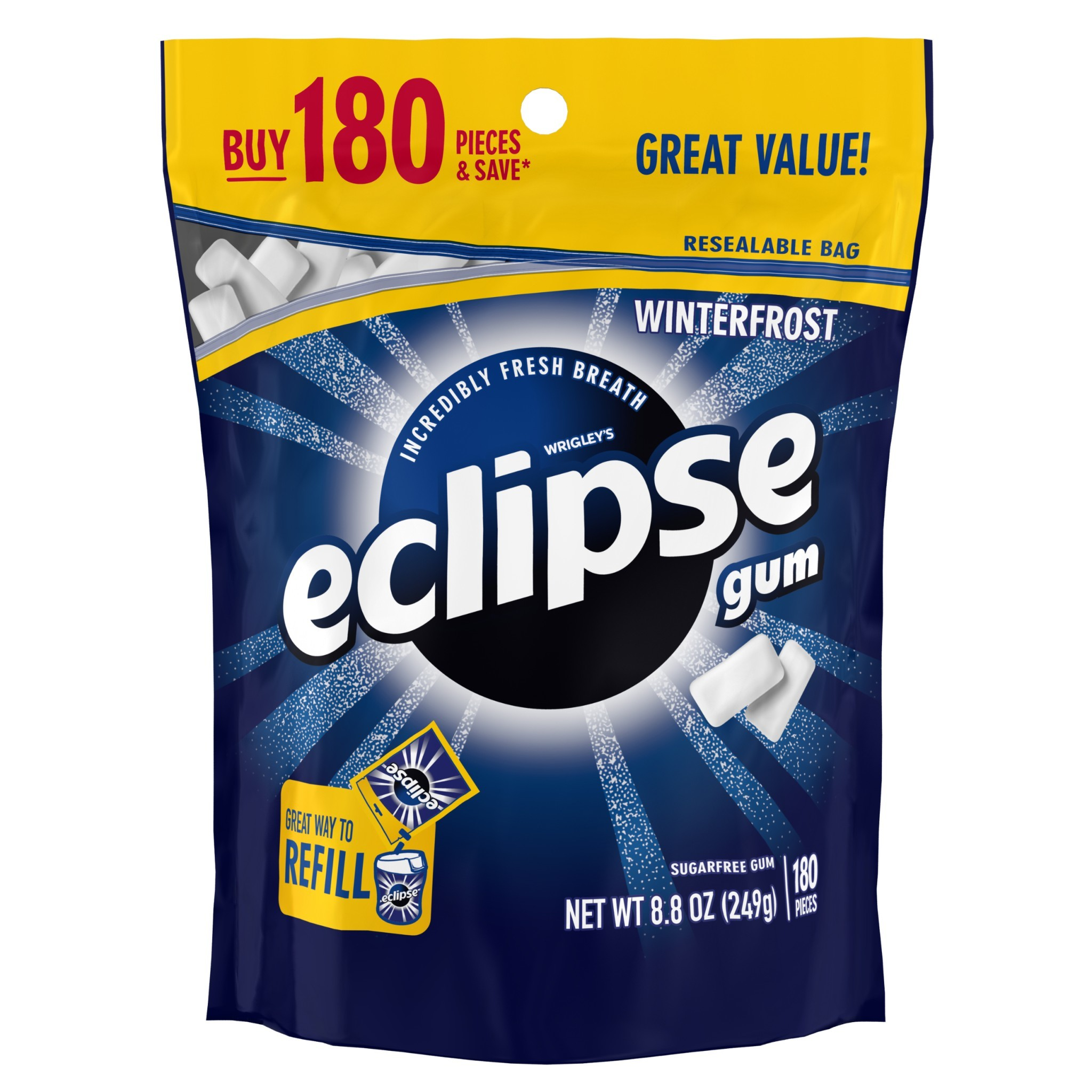 (2 Pack) Eclipse, Sugar Free Winterfrost Chewing Gum, 180 Pcs
