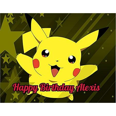 Pokemon Pikachu Edible Image Photo Cake Topper Sheet Personalized Custom Customized Birthday Party - 1/4 Sheet - 78585 - Pokemon Birthday Cake
