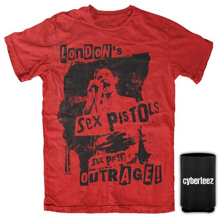 Sex Pistols T-Shirt London's Outrage Johnny Rotten Red T-Shirt + Coolie (S)