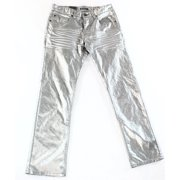 INC NEW Silver Mens Size 33x30 Berlin Slim Straight Leg Coated Jeans $79