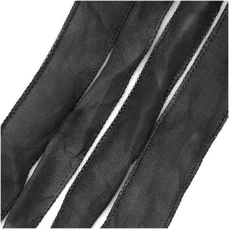 Silk Fabric Flat Silky Ribbon, 2cm Wide, 42 Inches Long, 1 Strand, Dark Grey