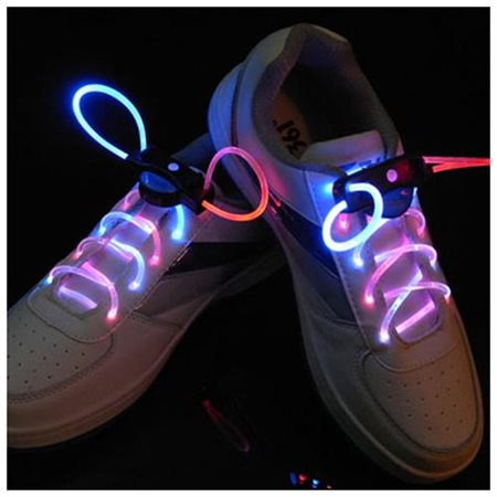 Image LED Light Up Shoe Laces 3 Mode Shoestring Strap for Chrismas Party Running Red-Blue