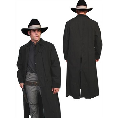 Mens Rangewear Canvas Duster Jacket, Black, Small (Mens Duster Coat)