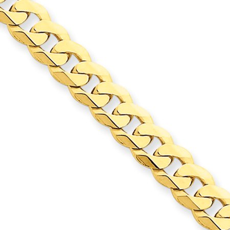 Mens 5.75mm 14k Yellow Gold Solid Beveled Curb Chain Bracelet, 8