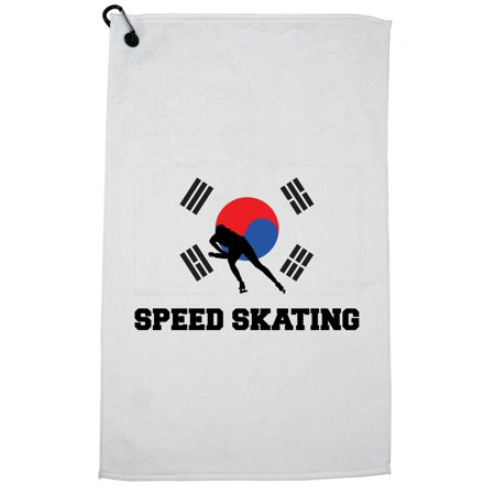 South Korea Olympic - Speed Skating - Flag - Silhouette Golf Towel with Carabiner Clip Olympic Speed Skating