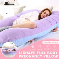 Full Body U Shaped Pillow Pregnancy, Maternity Pillow for Side Sleeping, Cotton Pillow Comfortable Sleeping Support, Nursing Cushion for Baby, With Zipper,48 x 26 x 6 inch