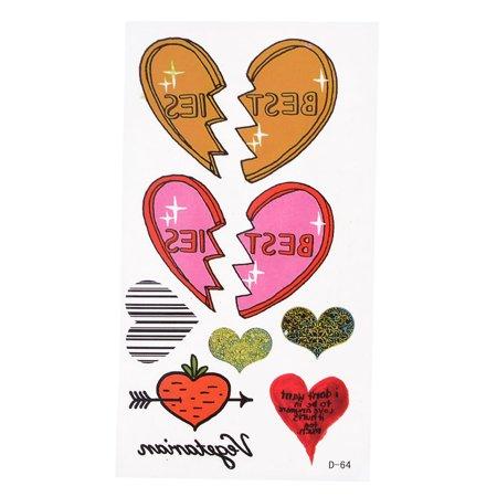 Colorful Hearts Pattern Temporary Transfer Tattoos Sticker Beauty Tool - image 1 of 1
