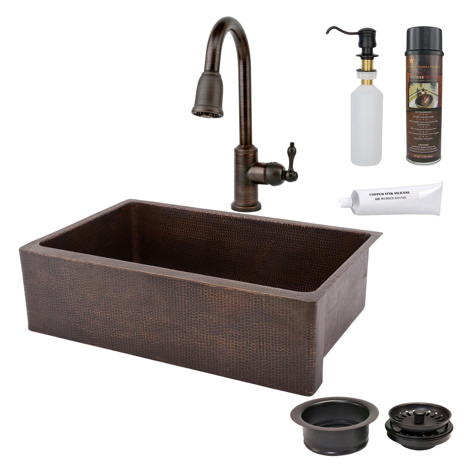 Premier Copper Products KSP2 KASDB33229 Single Basin Farmhouse Sink with Faucet
