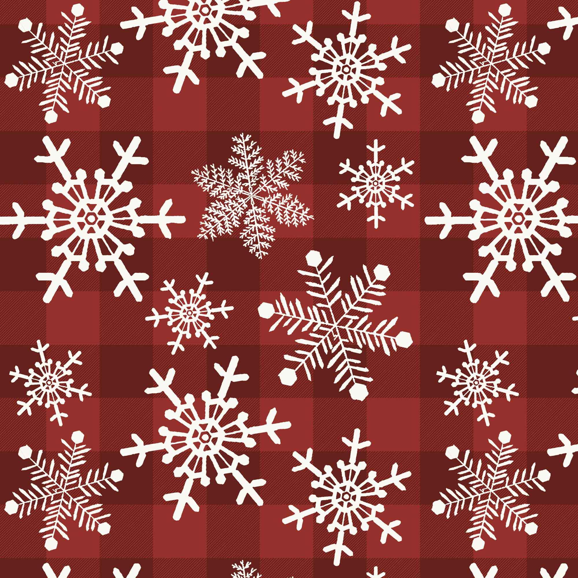 David Textiles Snowflakes Gingham Cotton Fabric, per Yard