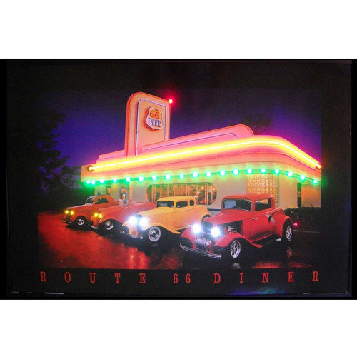 Neonetics Retro Route 66 Diner Neon LED Framed Vintage Advertisement