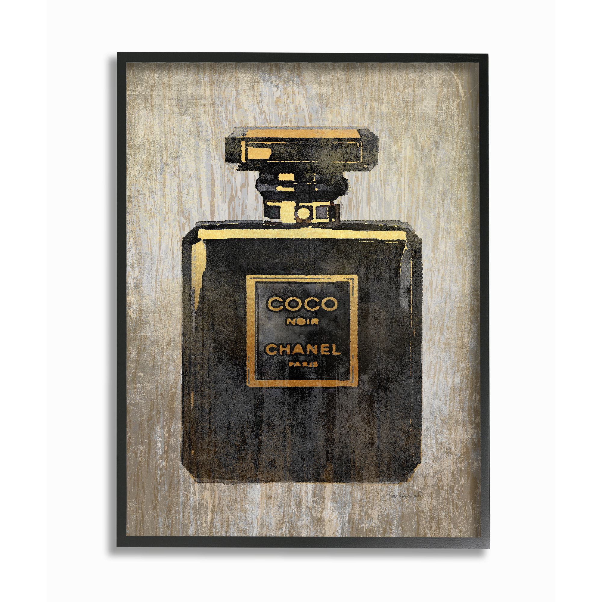 Stupell Industries Fashion Designer Perfume Black Gold Textured Watercolor Framed Wall Art By Amanda Greenwood Walmart Com Walmart Com