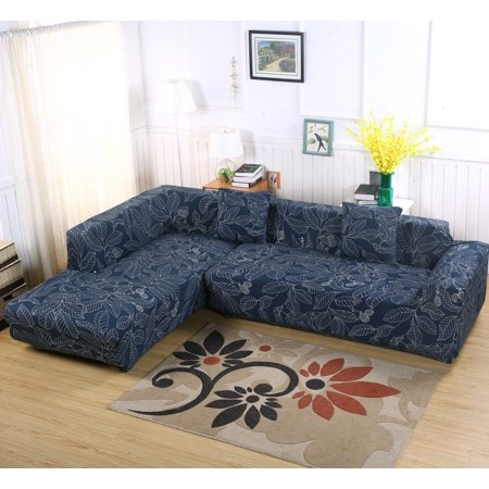 Sofa Covers for L Shape, 2pcs Polyester Fabric Stretch Slipcovers + 2pcs Pillow Covers for Sectional sofa L-shape Couch - Blue Leaf ()