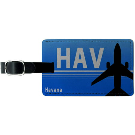 Havana Cuba (HAV) Airport Code Leather Luggage ID Tag Suitcase