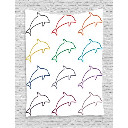 Sea Animals Decor Tapestry, Dolphin Silhouettes Intelligent and Playful Fish Grace Marine Ocean Pattern, Wall Hanging for Bedroom Living Room Dorm Decor, 60W X 80L Inches, Multi, by Ambesonne